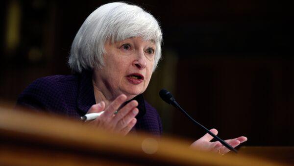 Federal Reserve Board Chair Janet Yellen testifies on Capitol Hill in Washington, Tuesday, Feb. 24, 2015 - Sputnik International