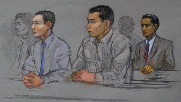 This courtroom sketch shows defendants Azamat Tazhayakov, left, Dias Kadyrbayev, center, and Robel Phillipos, right, college friends of Boston Marathon bombing suspect Dzhokhar Tsarnaev, during a hearing in federal court - Sputnik International