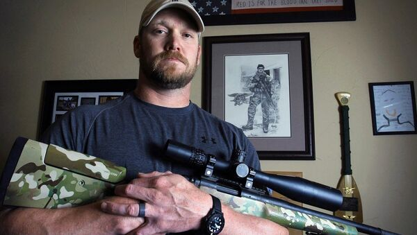 In this April 6, 2012, photo, former Navy SEAL and author of the book American Sniper poses in Midlothian, Texas. A Texas sheriff has told local newspapers that Chris Kyle has been fatally shot along with another man on a gun range, Saturday, Feb. 2, 2013 - Sputnik International