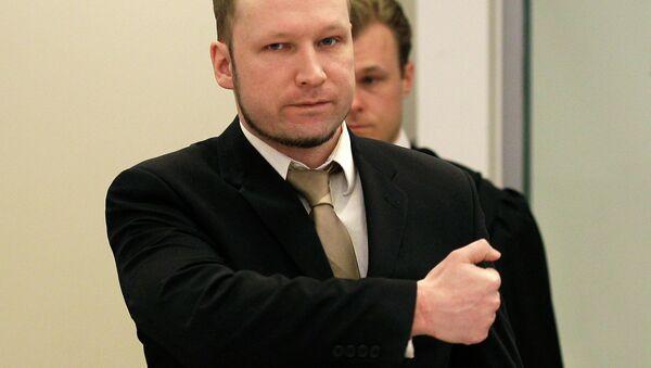 Accused Norwegian Anders Behring Breivik gestures as he arrives at the courtroom, in Oslo, Norway - Sputnik International