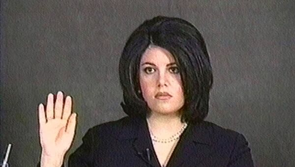 Monica Lewinsky, shown in this video image, is sworn in for her deposition on Feb. 1, 1999.  - Sputnik International