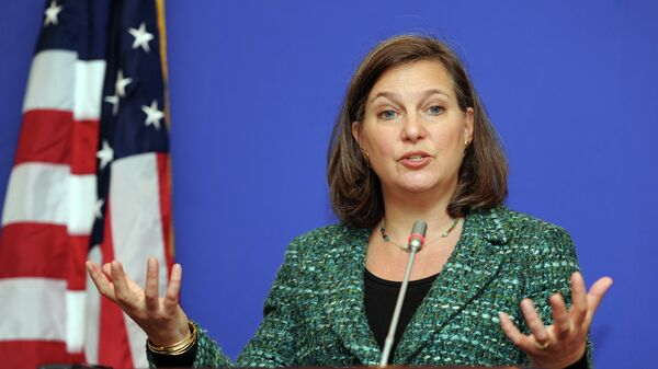 US Assistant Secretary of State for European and Eurasian Affairs Victoria Nuland gestures as she speaks during her press conference in Tbilisi on February 17, 2015 - Sputnik International