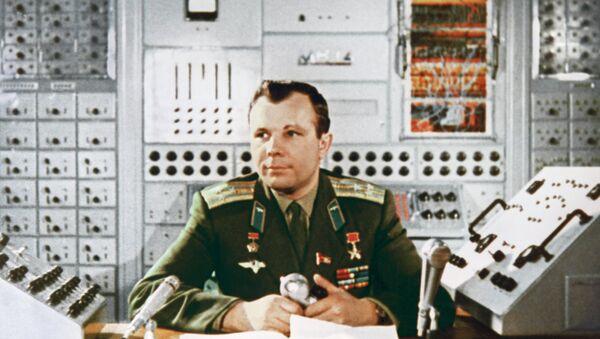 Hero of the Soviet Union, the USSR pilot-cosmonaut Yuri Gagarin in engineering laboratory of Cosmonaut training centre, Star City. 1964 - Sputnik International