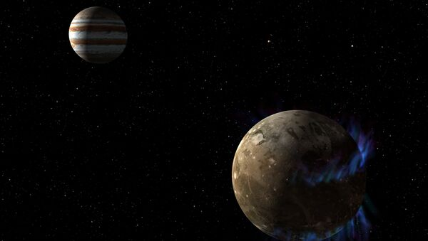 In this artist's concept, the moon Ganymede orbits the giant planet Jupiter. NASA's Hubble Space Telescope observed aurorae on the moon generated by Ganymede's magnetic fields. - Sputnik International