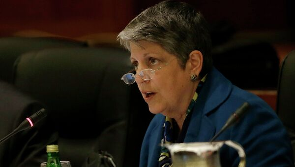 University of California president Janet Napolitano speaks while giving a briefing on the progress she and Gov. Jerry Brown have made in ironing out their differences over UC's budget during a UC Board of Regents meeting in San Francisco, Wednesday, March 18, 2015. - Sputnik International