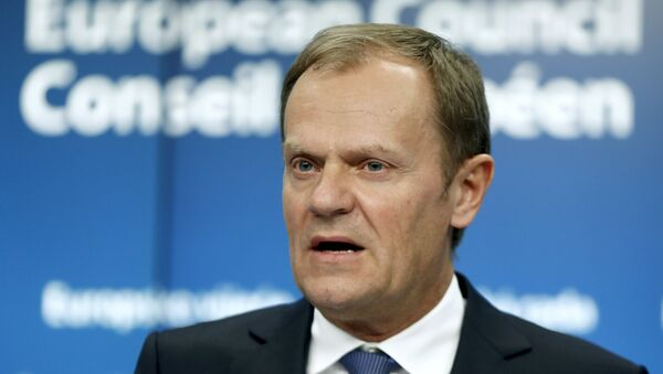 European Council President Donald Tusk addresses a news conference after a Tripartite Social Summit ahead of a European Union leaders summit in Brussels March 19, 2015 - Sputnik International