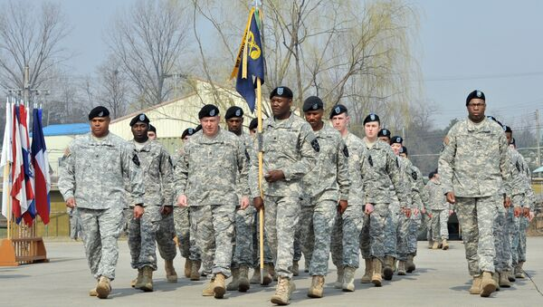 Soldiers of the US Army's 23rd Chemical Battalion march during a ceremony to recognise their official return to the 2nd Infantry Division located in South Korea - Sputnik International