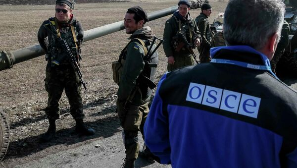 A member of Special Monitoring Mission of the Organization for Security and Cooperation (OSCE) to Ukraine walks along a convoy of Ukrainian armed forces in Blagodatne, eastern Ukraine, February 27, 2015 - Sputnik International