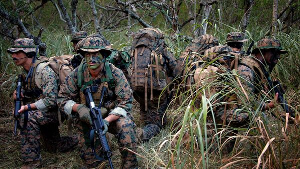 Reconnaissance Marines with 4th Force Reconnaissance Company secure themselves by watching in all directions during their two weeks of annual training at the Marine Corps - Sputnik International