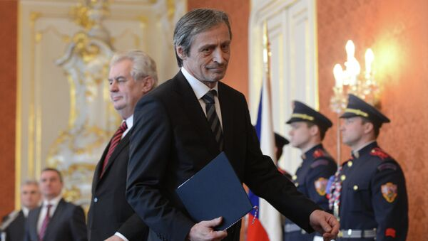 Czech Defence Martin Stropnicky from ANO party leaves after having been appointed by President Milos Zeman (C L) - Sputnik International