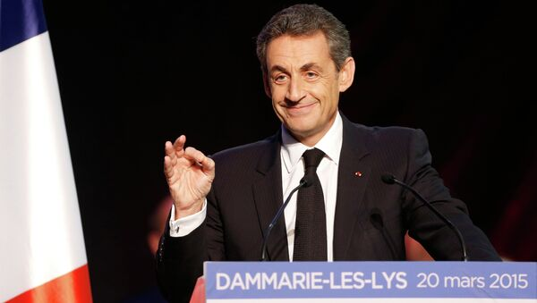 Current UMP right-wing opposition party President and former French President, Nicolas Sarkozy speaks during a campaign rally ahead of the French departmental elections, on March 20, 2015 in Dammarie-les-Lys, south of Paris - Sputnik International