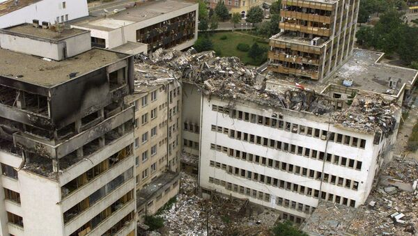 An aerial view taken 15 June 1999 of the Pristina central post office which was destoyed by NATO bombing. - Sputnik International