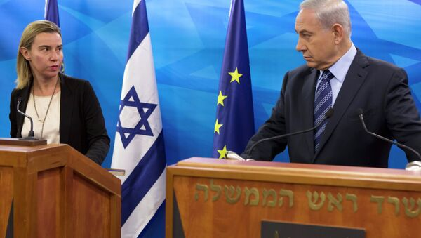 EU Foreign Affairs and Security Policy Federica Mogherini, left, speaks during a joint news conference with Israeli Prime Minister Benjamin Netanyahu. - Sputnik International