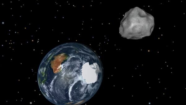 This image provided by NASA/JPL-Caltech shows a simulation of asteroid 2012 DA14 approaching from the south as it passes through the Earth-moon system on Friday, Feb. 15, 2013 - Sputnik International