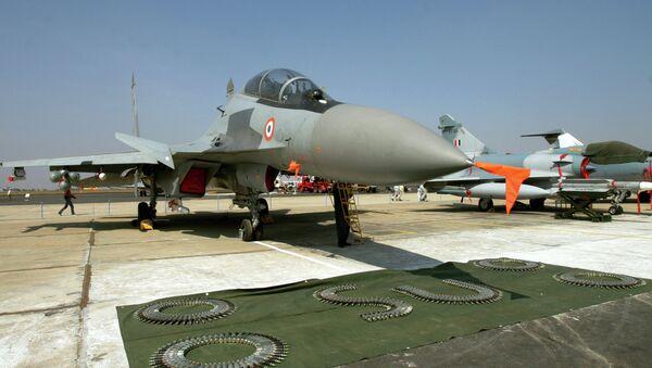 A Russian made Indian Air Force Sukhoi-30 fighter aircraft is seen on display at 'Aero India 2007' at Yelahanka air base on the outskirts of Bangalore, India. File photo - Sputnik International