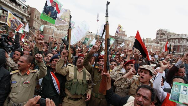 Shiite rebels, known as Houthis, gather to protest against Saudi-led airstrikes, during a rally in Sanaa, Yemen - Sputnik International