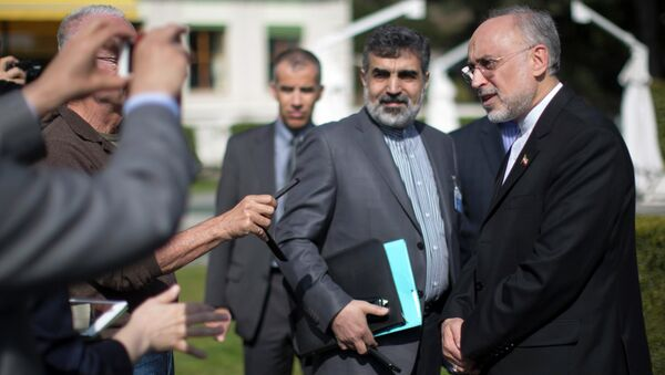 The head of the Atomic Energy Organization of Iran Ali Akbar Salehi speaks to reporters during negotiations between United States Secretary of State John Kerry and Iran's Foreign Minister Javad Zarif over Iran's nuclear program in Lausanne March 17, 2015 - Sputnik International