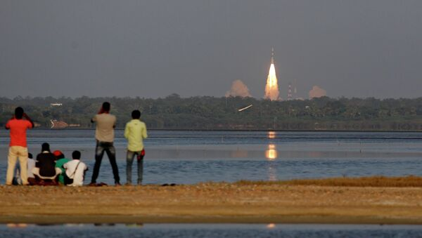 Indian Space Research Organisation's Polar Satellite Launch Vehicle-C27 successfully lifted off from the Sriharikotta rocket port carrying IRNSS-1D - Sputnik International
