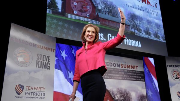 Carly Fiorina waves after speaking at the Freedom Summit, Saturday, Jan. 24, 2015, in Des Moines, Iowa - Sputnik International