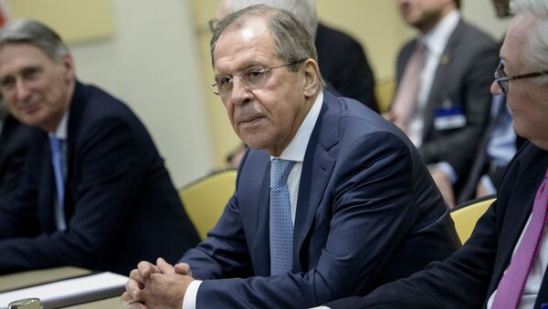 Russian Foreign Minister Sergey Lavrov waits for the start of a meeting at the Beau Rivage Palace Hotelin Lausanne, Switzerland, Sunday March 28, 2015 - Sputnik International