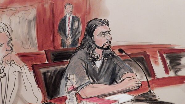 In this courtroom sketch, defendant Haroon Aswat speaks during his guilty plea sentencing in federal court, Monday, March 30, 2015, in New York - Sputnik International