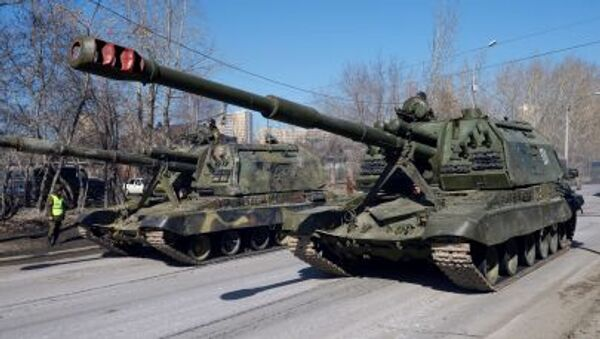 Tor-M2U missile systems during the first rehearsal of the Victory Parade in Yekaterinburg. - Sputnik International