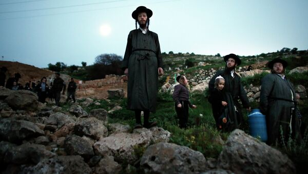 Ultra-Orthodox Jews leave the site after collecting water from a mountain spring near Jerusalem to be used in baking unleavened bread, known as Matzoth, during the Maim Shelanu (Rested Water) ceremony on April 2, 2015. - Sputnik International
