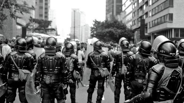 Policemen in San Bernardo, Bogota, Colombia - Sputnik International