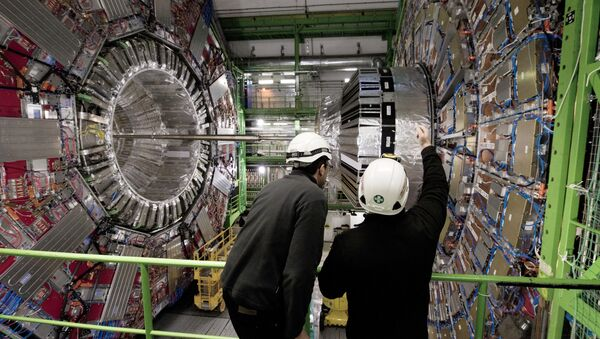 Workers gesture on February 10, 2015 in front of the CMS (Compact Muon Solenoid) Cavern at the European Organisation for Nuclear Research (CERN) in Meyrin, near Geneva - Sputnik International