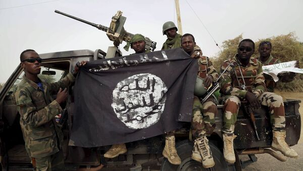 Nigerien soldiers hold up a Boko Haram flag that they had seized in the recently retaken town of Damasak, Nigeria, March 18, 2015 - Sputnik International