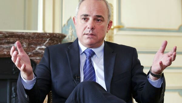 Israeli Intelligence Minister Yuval Steinitz gestures as he speaks during an interview with The Associated Press in Paris, Monday, March 23, 2015. Steinitz said Monday that dialogue with France over Iran's nuclear program has proven in the past that it was productive and makes this week's last-minute diplomatic mission to Paris worthwhile. - Sputnik International