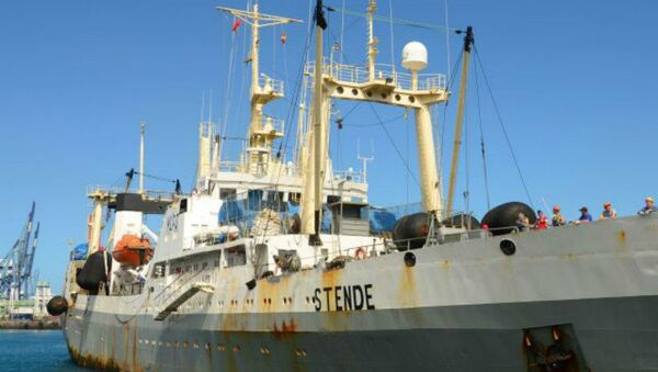 A file picture taken on March 20, 2013 and provided by ShipSpotting.com shows STENDE trawler in Las Palmas, Canary Islands. The trawler was bought in 2014 by Magellan LLC and renamed Dalny Vostok - Sputnik International