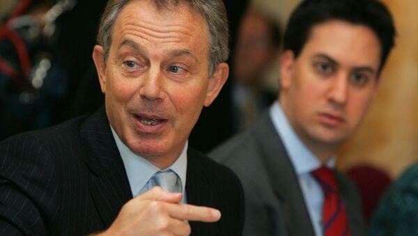 Former British Prime Minister Tony Blair and Labour leader Ed Miliband - Sputnik International