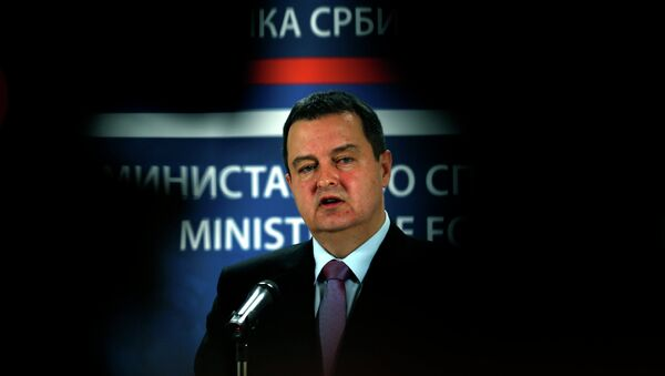 Serbia's Minister for Foreign Affairs and Organization for Security and Co-operation in Europe (OSCE) Chairperson-in-office for 2015 Ivica Dacic speaks during a press conference in Belgrade, Serbia, Sunday, Feb. 1, 2015 - Sputnik International