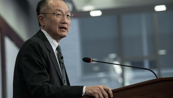 World Bank President Jim Yong Kim arrives to deliver a speech at the Center for Strategic and International Studies (CSIS) in Washington, DC, on April 7, 2015 - Sputnik International