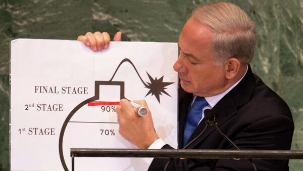 Benjamin Netanyahu, Prime Minister of Israel, uses a diagram of a bomb to describe Iran's nuclear program while delivering his address to the 67th United Nations General Assembly meeting September 27, 2012 at the United Nations in New York. - Sputnik International