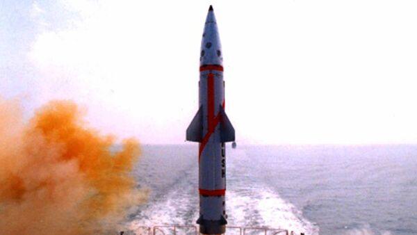 Testing of the Dhanush missile. File photo. - Sputnik International