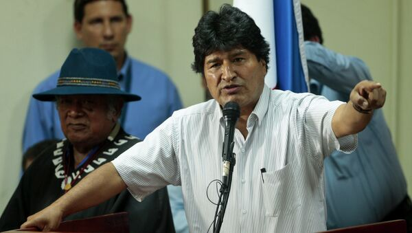 Bolivia's President Evo Morales delivers a speech to delegates at the People's Summit, in Panama City, Friday, April 10, 2015 - Sputnik International