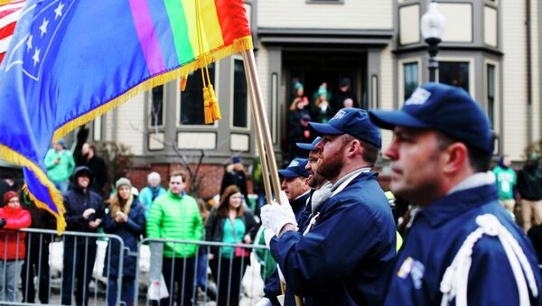 The color guard for LGBT veterans group OutVets marches down Broadway during the St. Patrick's Day Parade in South Boston, Massachusetts - Sputnik International