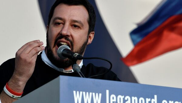 Italian Northern League (Lega Nord) party leader Matteo Salvini speaks during a rally against the Italian government's policy - Sputnik International