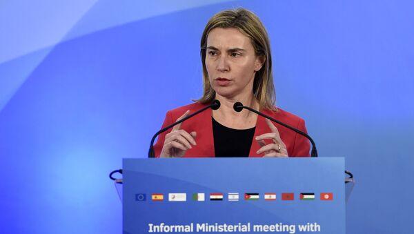 European Union High Representative Federica Mogherini speaks during a press conference in Barcelona on April 13, 2015 - Sputnik International