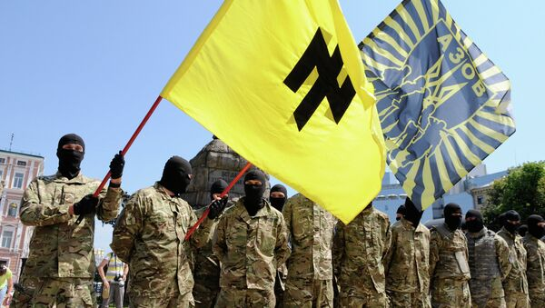 Azov battalion soldiers take oath in Kiev before being sent to Donbass - Sputnik International