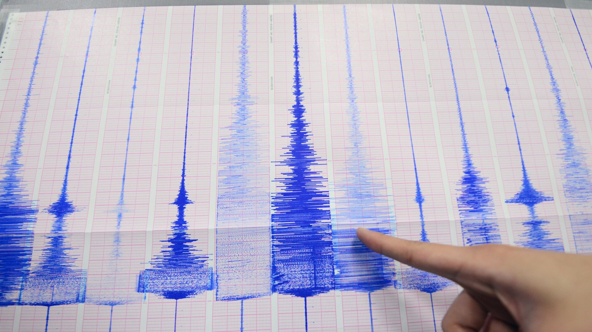 A staff member of the Seismology Center points to a chart showing the earthquake activity detected by the central Weather Bureau in Taipei on April 20, 2015 - Sputnik International, 1920, 24.09.2021