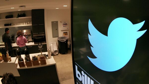 A monitor is pictured in a kitchen area at tech company Twitter's office space in Santa Monica, California, on April 7, 2015 - Sputnik International
