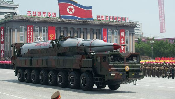 A North Korean Taepodong-class missile is displayed during a military parade past Kim Il-Sung square marking the 60th anniversary of the Korean war armistice in Pyongyang on July 27, 2013 - Sputnik International