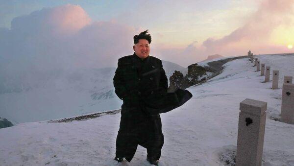 North Korean leader Kim Jong-Un on a snow-covered top of Mount Paektu in North Korea - Sputnik International