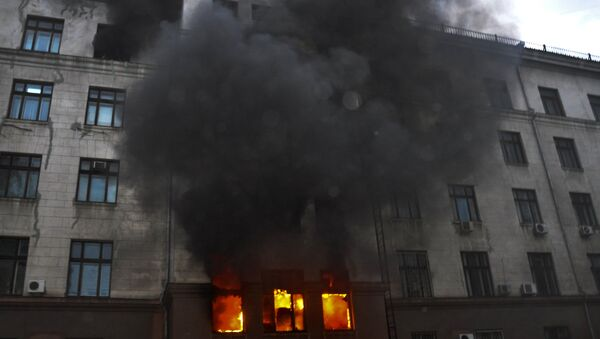Fire at the Trade Union House in Odessa - Sputnik International