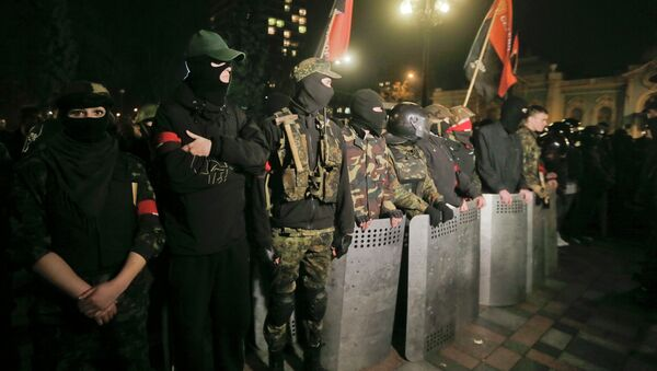 Members of the right wing ultra nationalist Right Sector group - Sputnik International
