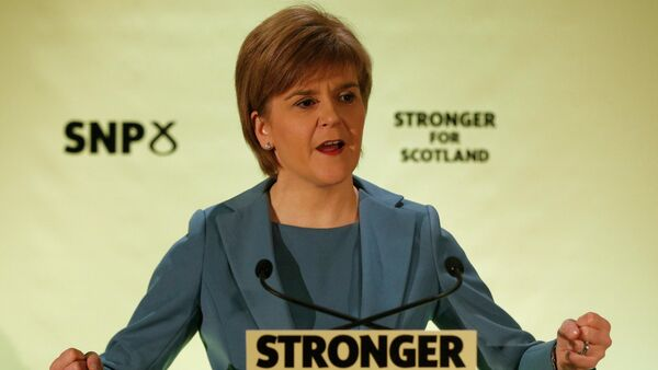 Nicola Sturgeon, the leader of the Scottish National Party, gestures as she delivers a keynote election speech in Glasgow, Britain April 29, 2015 - Sputnik International