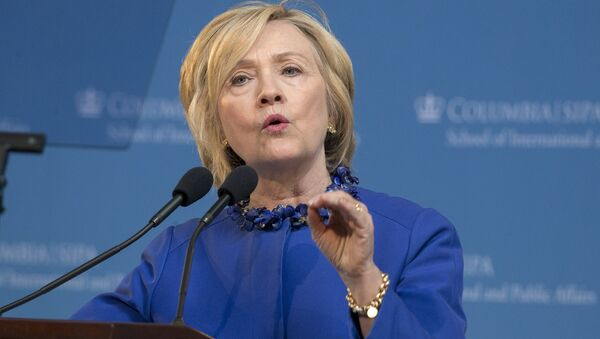 Democratic presidential candidate Hillary Clinton delivers the keynote address at the 18th Annual David N. Dinkins Leadership and Public Policy Forum at Columbia University in New York April 29, 2015 - Sputnik International